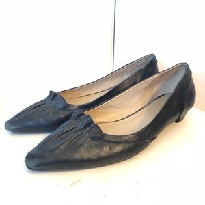 Talbots Black Leather Pointed Toe Pleated Flats